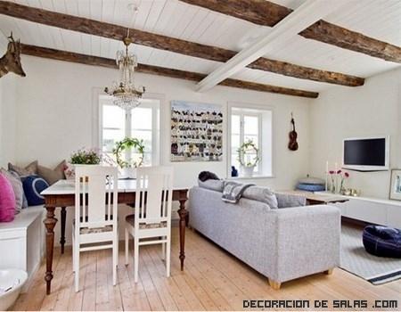 Combina la madera con el color blanco - Decoracion con vigas de madera ...