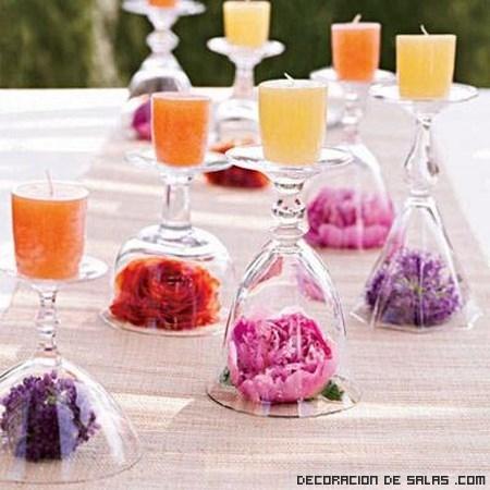 copas con velas para mesas elegantes