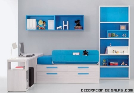 Dormitorios en color azul - Habitaciones infantiles azules ...