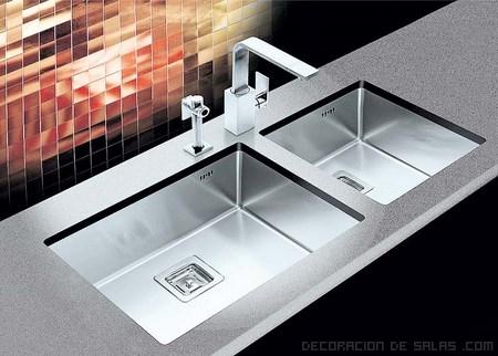 Fregaderos dobles en tu cocina for Fregaderos modernos