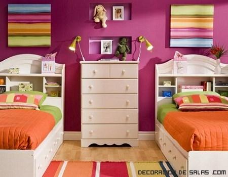 Ideas para un dormitorio de gemelas - Habitaciones para bebes gemelos ...
