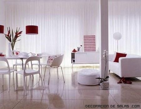 comedores en blanco y rojo