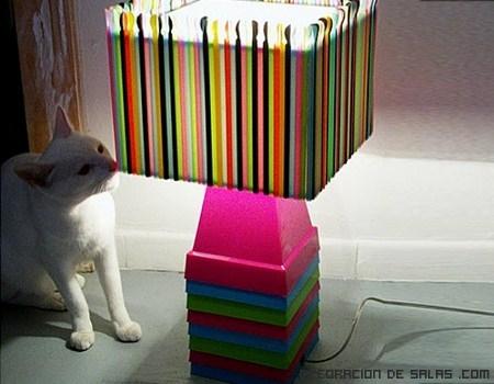 Lámparas hechas con pajitas