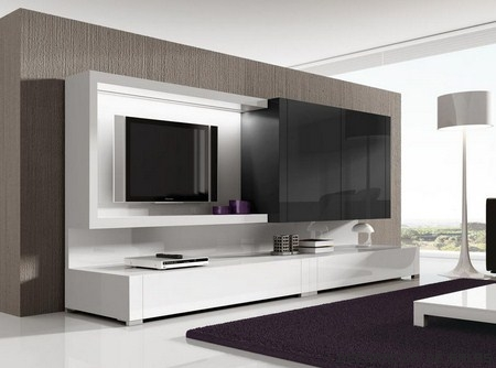 Muebles modernos para colocar la tele for Muebles modernos living para tv