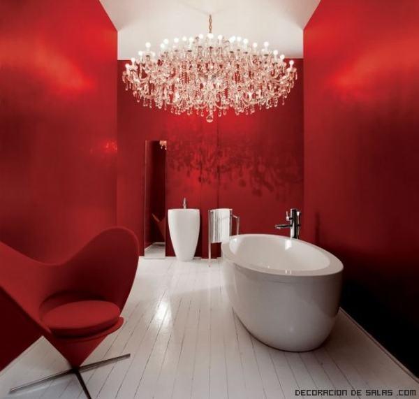 Baño Blanco Con Rojo:Baños modernos en color rojo