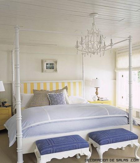 dormitorios en blanco y azul