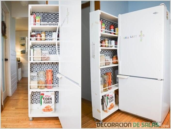 almacenamiento al lado del frigorífico