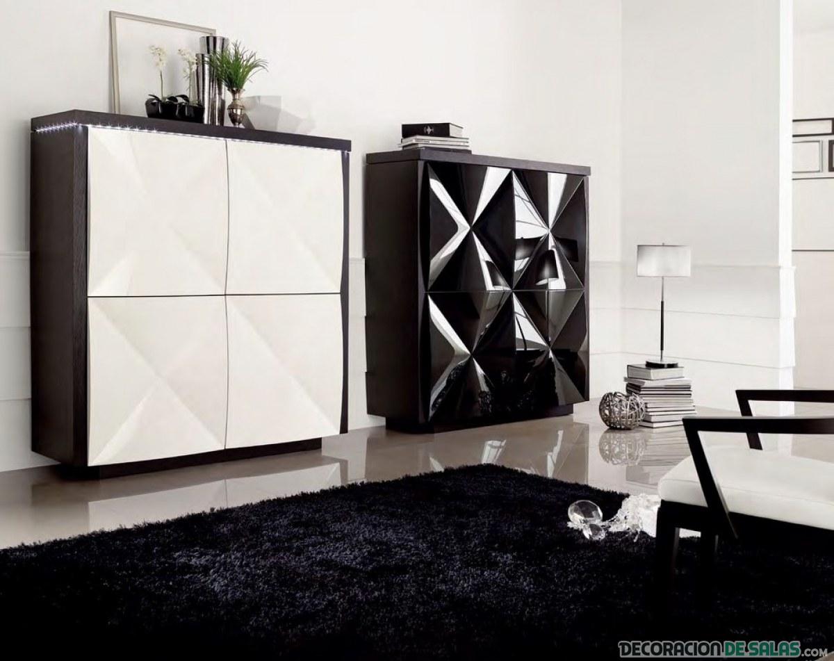 aparador moderno en blanco y negro