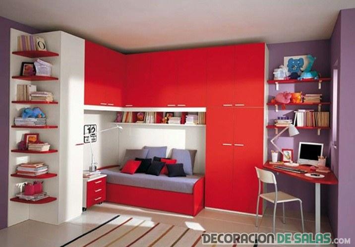 Las mejores habitaciones en color rojo - Colores para dormitorios infantiles ...