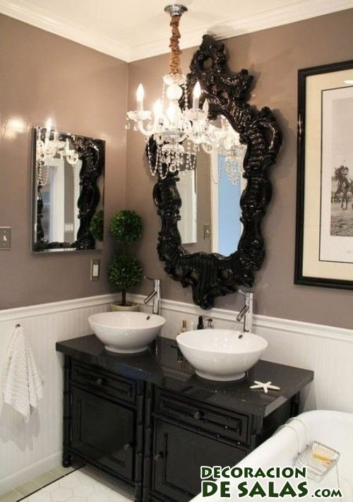 Ideas para decorar tus ba os en blanco y negro for Pretty small bathroom ideas