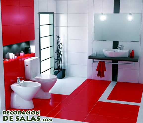 Ba os con pinceladas en color rojo for Decoracion de interiores color rojo