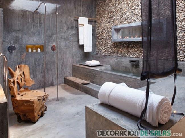 baño rústico con estilo moderno