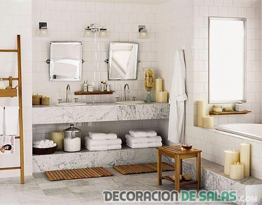 baño rústico en color blanco