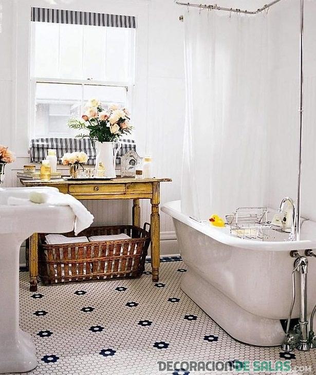 baño vintage con almacenamiento