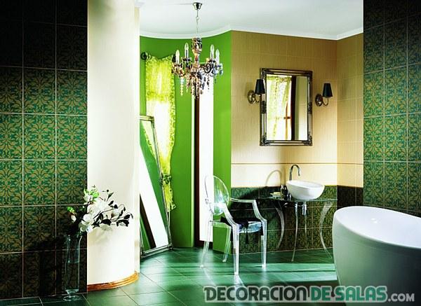 Azulejo Para Baño Verde:Baños en color verde de azulejos