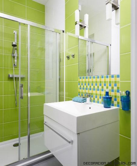 Baño Pintado De Amarillo:baños con azulejos en verde