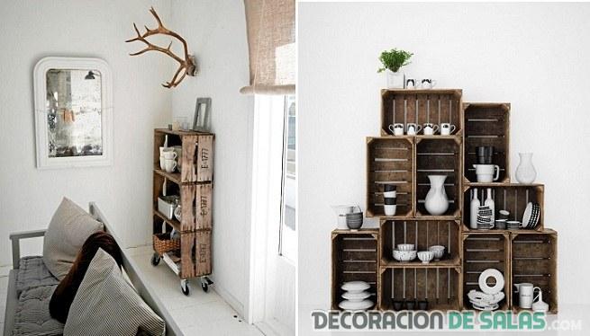 Decoraci n con cajas de madera for Muebles decorados de navidad