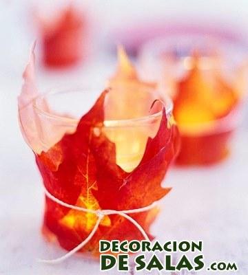Candelabros con hojas secas for Decoracion con hojas secas