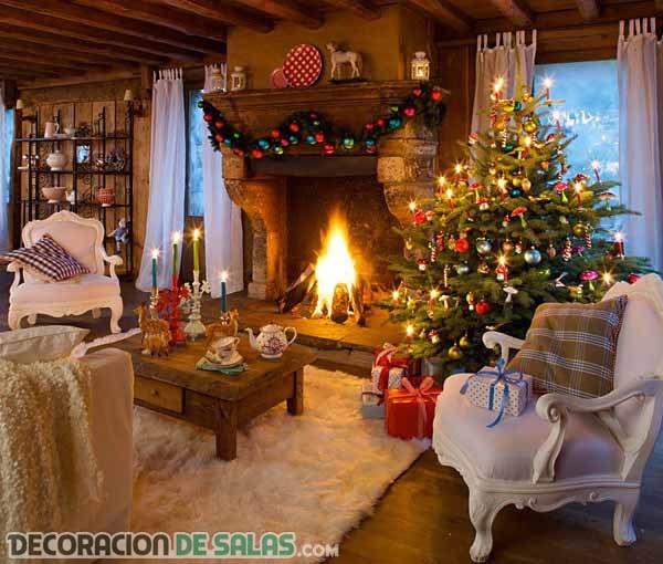 Decorar el salón de tu casa de campo por Navidad