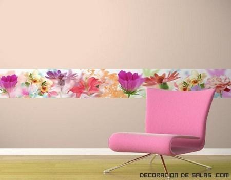 A ade cenefas de papel a tus habitaciones - Casas decoradas con papel pintado ...