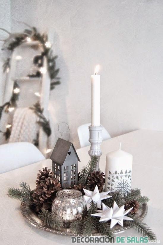 centro de mesa navidad color plata