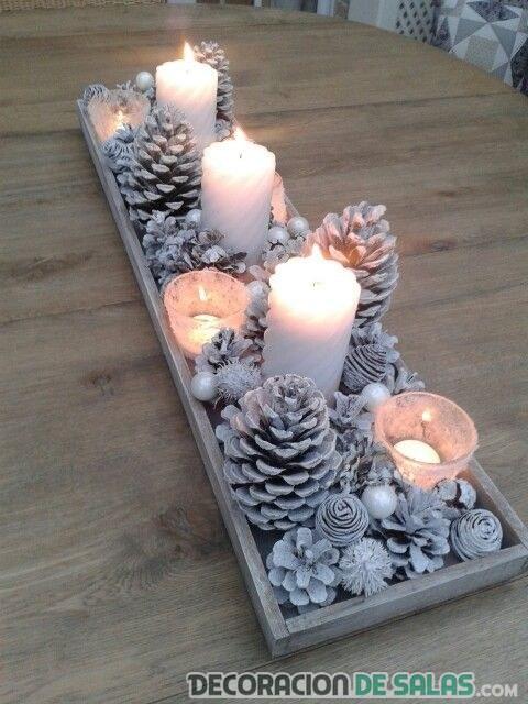 centro de mesa rectangular tonos fríos