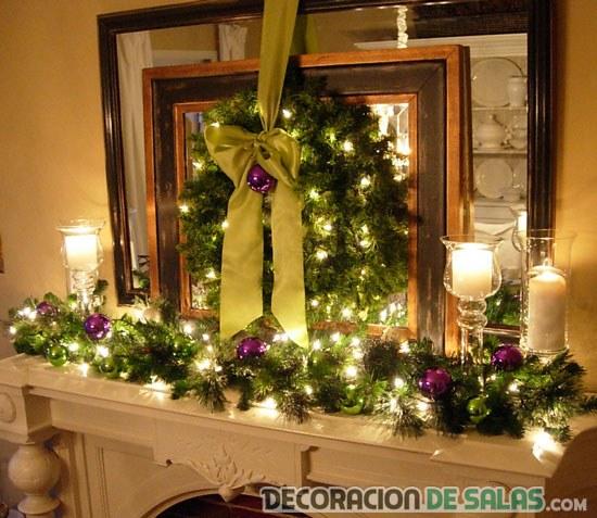chimenea decorada para navidad