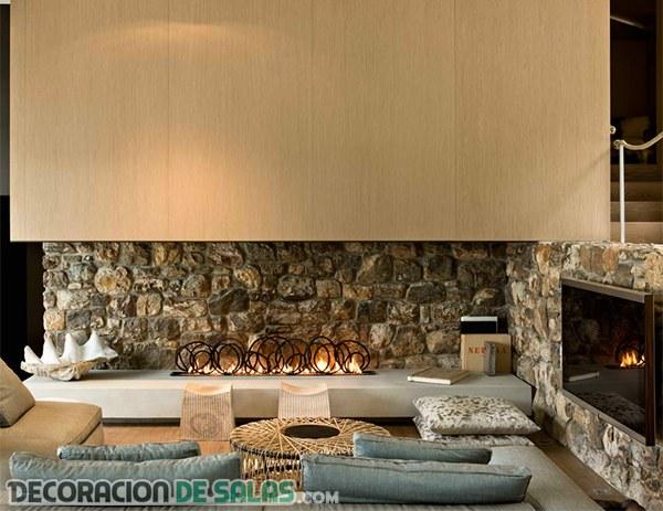 Chimeneas modernas que decoran las paredes de piedra - Chimeneas de bioetanol de diseno ...