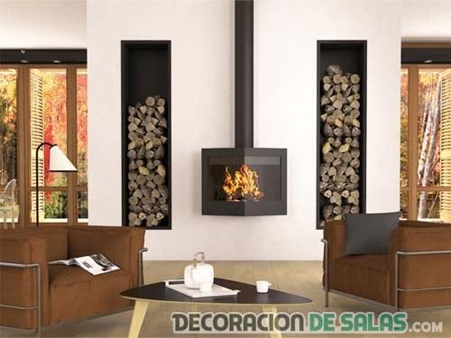 Cocina salon con chimenea: chimenea diseño a dos caras ideas para ...