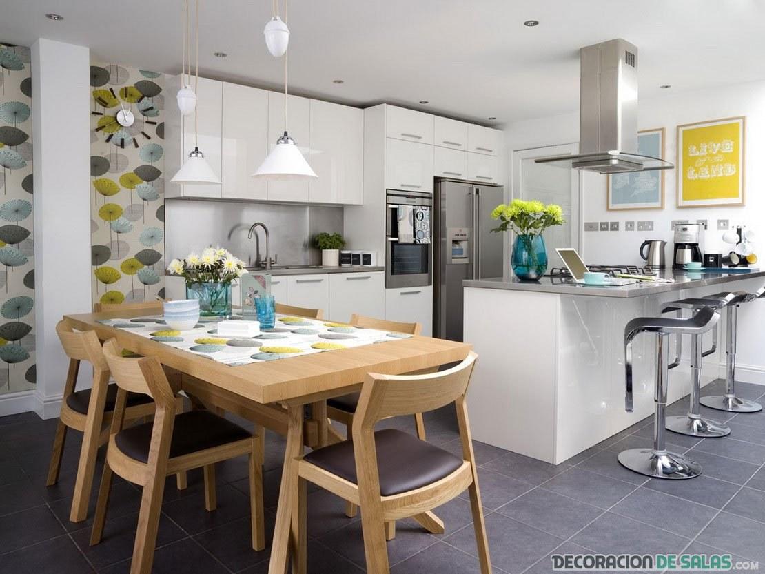 cocina abierta en color blanco