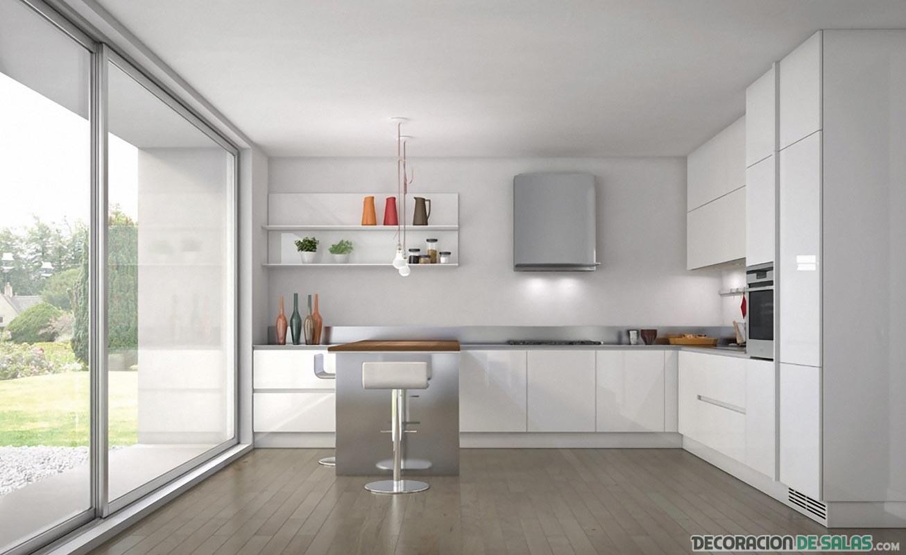 Cocinas en color blanco amplias y luminosas for Cocinas blancas y grises fotos