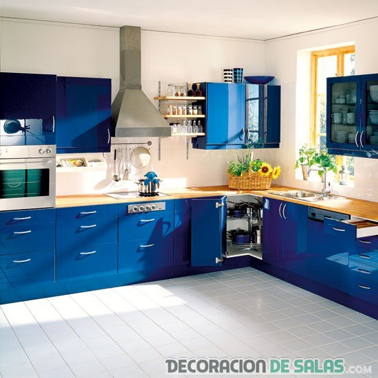 Cocinas en azul for Blue kitchen color ideas