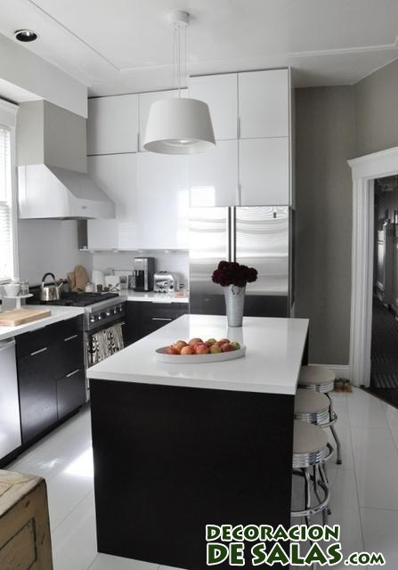 Cocinas combinadas de blanco y negro for Cocinas colores combinados