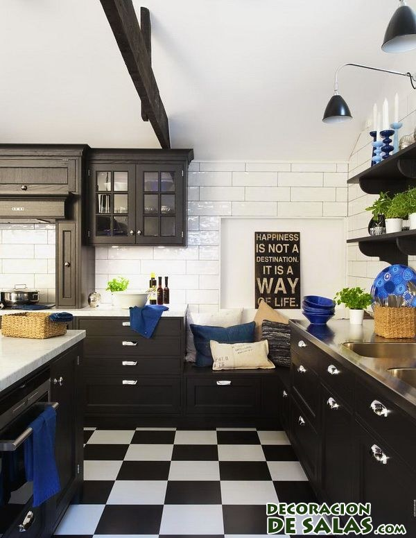 Nuevas cocinas donde el color negro es protagonista - Cocina blanco y negro ...