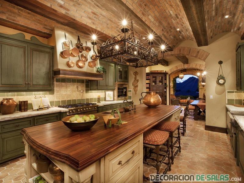 cocina de estilo rústica con lámpara