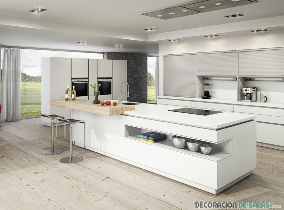 cocina en blanco minimalista