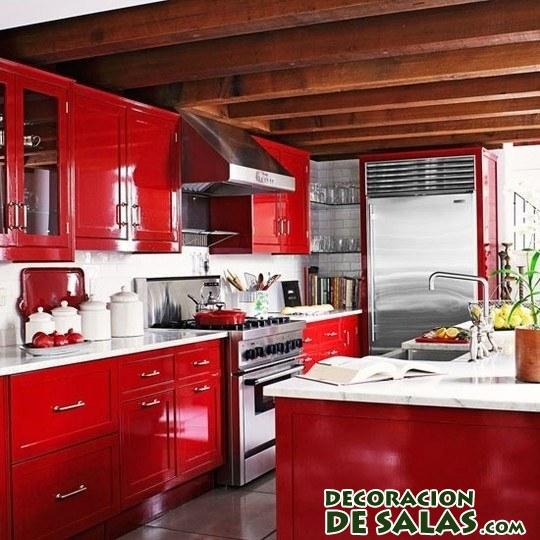 cocina en color rojo pasión