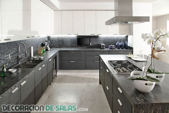 Ejemplos de cocinas en color gris for Cocinas en color blanco y gris