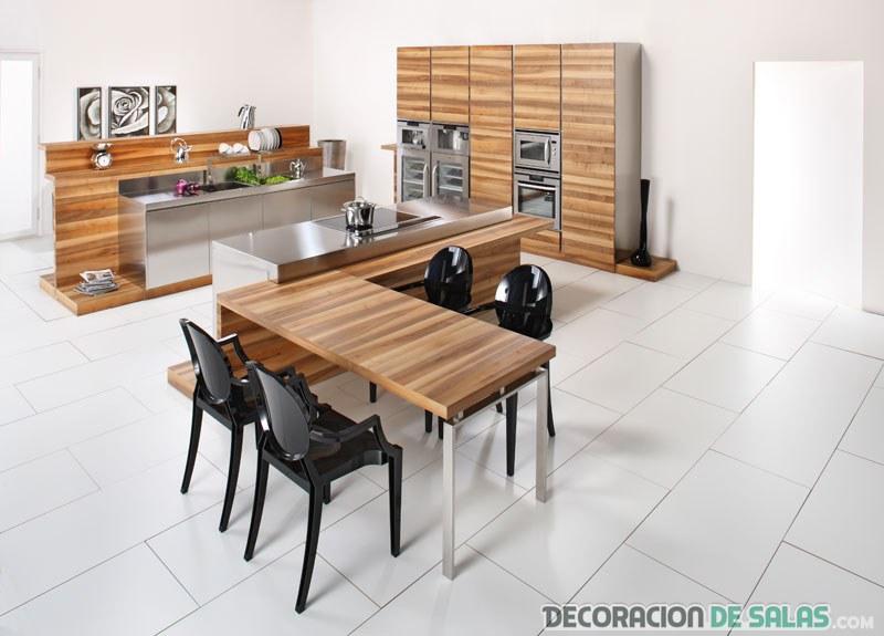 cocina en madera moderna con aluminio