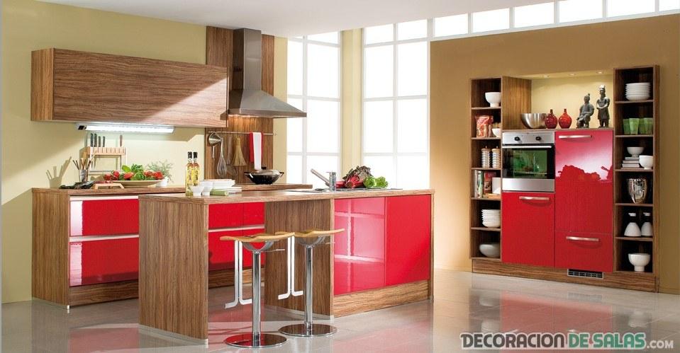 5 cocinas modernas para inspirarte On cocinas en rojo