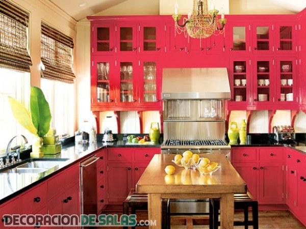 Ideas para una cocina en color rosa