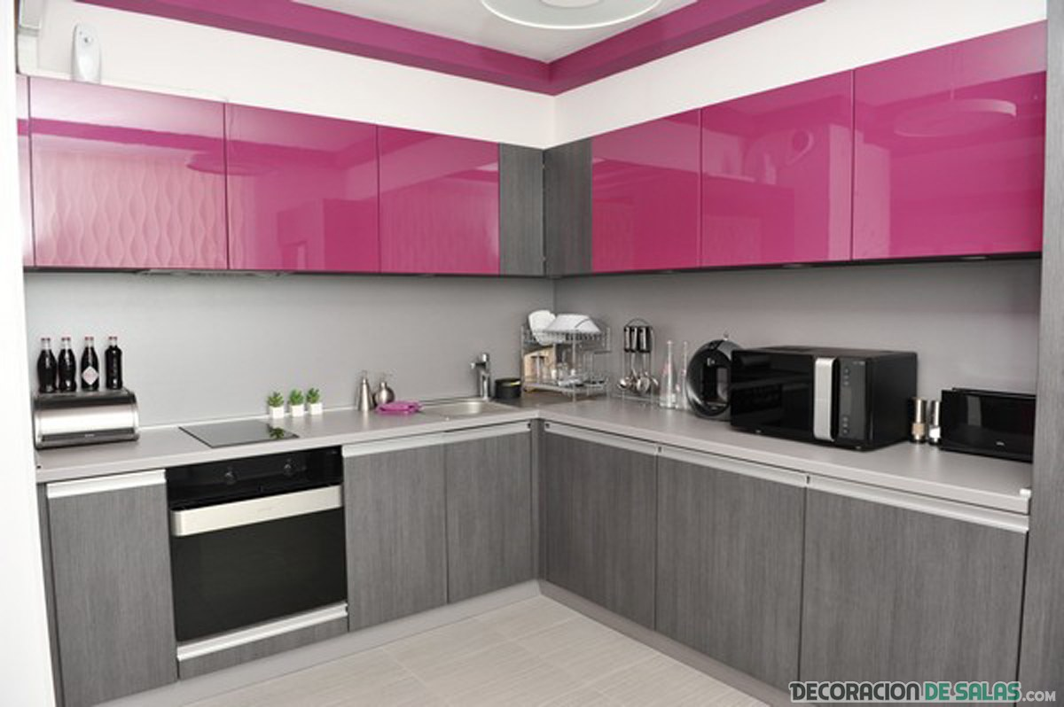 Ideas para una cocina en color rosa - Cocinas color gris ...
