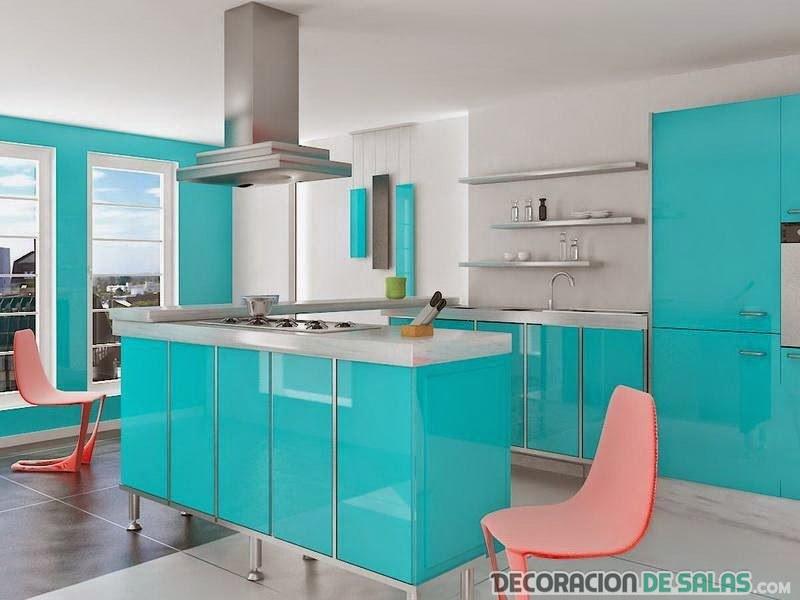 Cocinas delicadas en color azul claro - Cocina de color ...