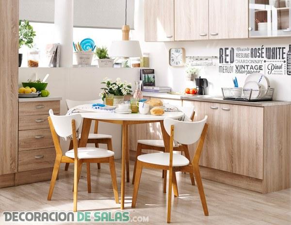 Cocinas y comedores juntos en espacios peque os - Mesas comedor para espacios pequenos ...