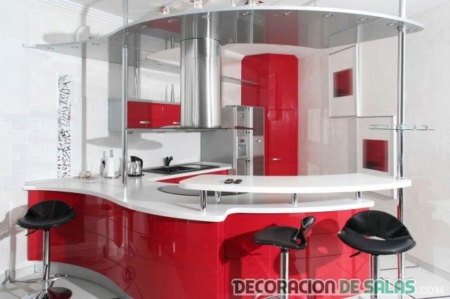 cocina moderna circular en rojo