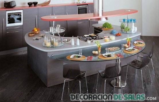 Cocinas con islas semi circulares for Cocinas integrales con isla al centro