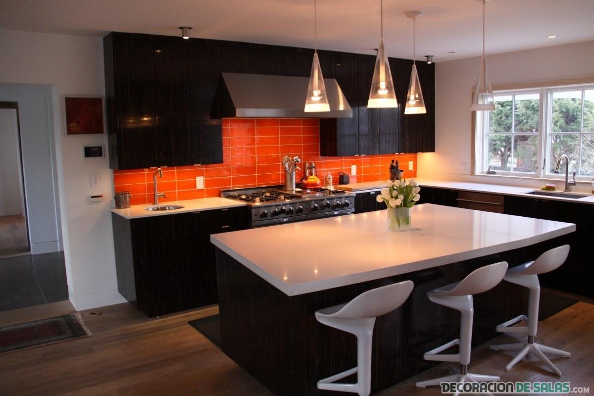 D jate llevar por el color naranja y negro en tu cocina - Cocinas naranjas y blancas ...