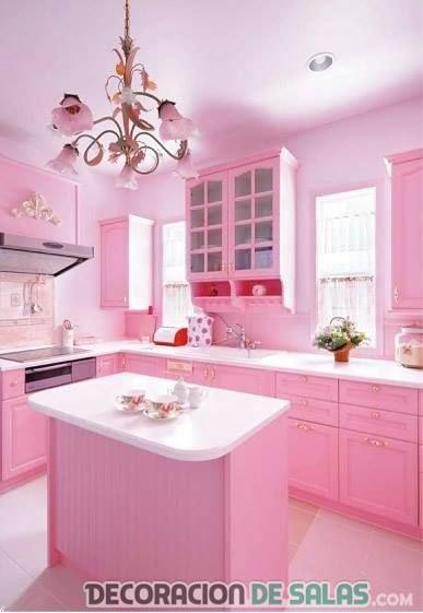 Ideas para una cocina en color rosa - Cocina rosa ...