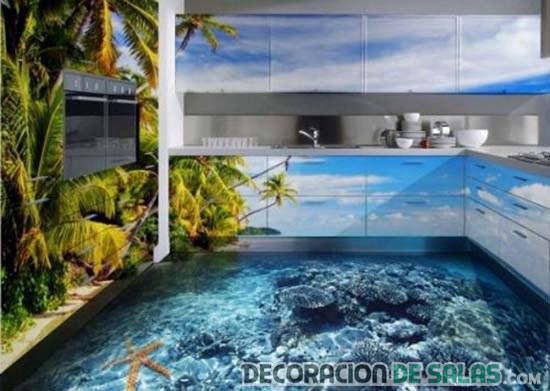 cocina son suelo 3d marino