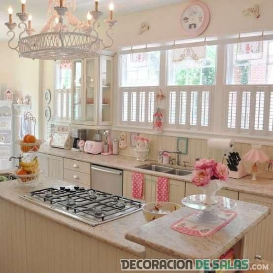 cocina vintage en colores pastel